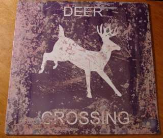 Rustic DEER CROSSING Vintage Hunter Sign Hunting Lodge Primitive Log
