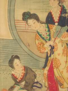 Chinese Watercolor Painting on Silk Courtyard Women Butterflies