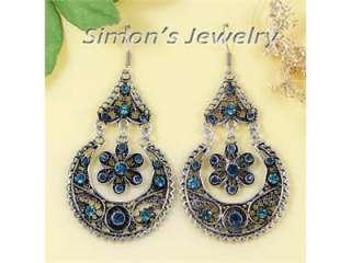 Vtg Tibet Silver Blue Crystal Dangle Earrings Zx181