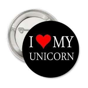 One Inch I Love My Unicorn Black Button PIN Pinback