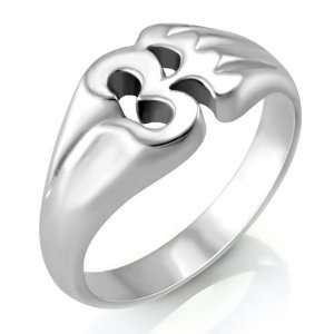 Sterling Silver Yoga, Aum, Om, Ohm, India Symbol Ring, Size 7: Jewelry
