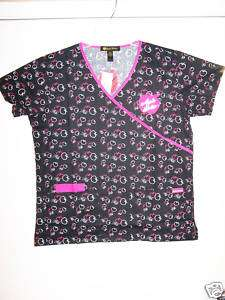 NWT APPLE BOTTOMS Black Print SCRUB TOP Sizes S 3XL 843455089004