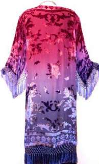 Hand Dyed Burnout Velvet Kimono Jacket Purple Magenta