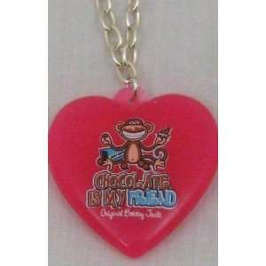 Bobby Jack Chocolate Is My Friend Pink Heart Necklace Beauty