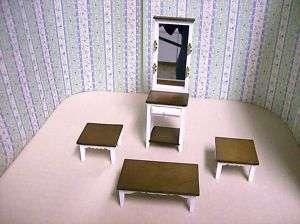Dollhouse Miniature White/Walnut Table set, Living Room
