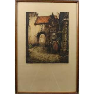 Alfred Van Neste The Gossips Colour Engraving Print