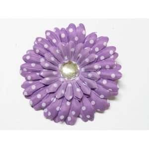 Purple Polka Dot 4 Large Gerbera Daisy Flower Hair Clip Hair