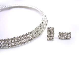 Twinkling 3 Row Choker Wedding Party Crystal Set