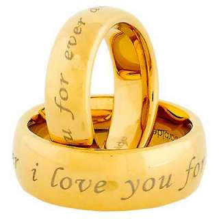 Mens Womens Tungsten Gold i love you for ever and ever Etch 2 pcs