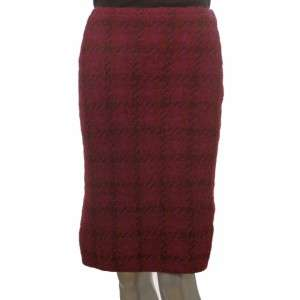 Sutton Studio Womens Red Wool Plaid Pencil Skirt XL