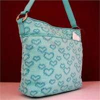 Liz Claiborne Blue Aruba Heart Shoulder Handbag Bag 098687882309