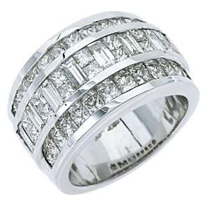White Gold 3.38 Carats Princess & Baguette Diamond Ring Wedding Band