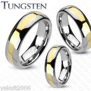 Tungsten Carbide Gold IP Stripe comfort fit mens wedding band