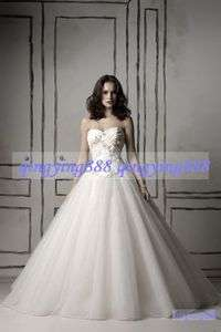 Sweetheart Applique Ball Gown Tulle Wedding Dress Size 6 8 10 12 14 16