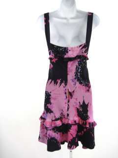 TULEH Pink Silk Floral Print Sleeveless Ruched Dress 12
