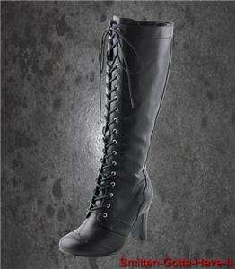 TUK STEAMPUNK CORSET Knee High VICTORIAN Laceup BOOTS