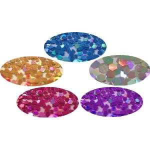 Colors Hexagon Glitter Dust Powder Nail Art Tip Decoration, Laser