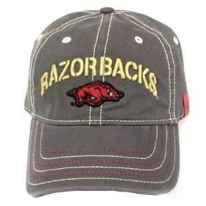 NCAA ARKANSAS RAZORBACKS GREY YELLOW CAP HAT ADJ NEW