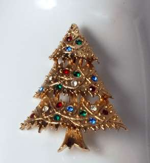 Vintage Signed EISENBERG ICE Rhinestone Christmas TREE Brooch Pin