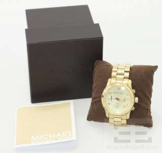 Michael Kors Gold Tone Stainless Steel Runway Chronograph Watch