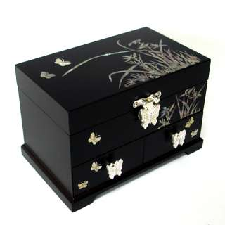 Mother of Pearl Inlay Orchid Flower Design Asian Black Wood Jewelry