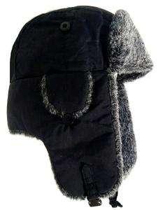 RUSSIAN COSSACK TRAPPER HAT MENS XL BLACK & GREY FUR WINTER SKI