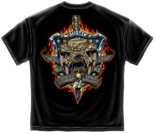 Flaming USMC Devil dog T Shirt army military training knife marine