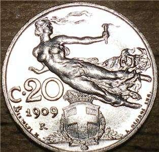 1909 Italy 20 Centesimi   HIGH QUALITY   Flawless Beauty LOOK
