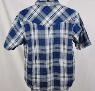 NEW Dickies Mens Short Sleeve Shirt Blue Plaid sz Large