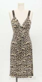 Elie Tahari Cream & Brown Snake Print Silk Sleeveless Dress Size S/P