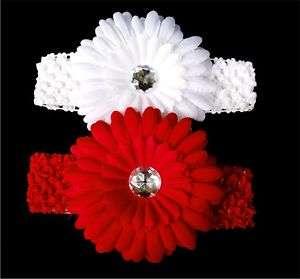 baby daisy flower hair clip bow crochet headband R