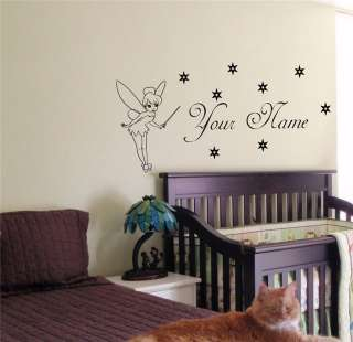 PERSONALIZED BABY NAME TINKERBELL FAIRY WALL STICKER BOY GIRL ROOM 08