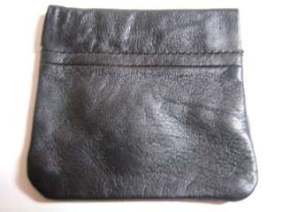 NEW BLACK LEATHER Squeeze COIN PURSE WALLET w/ KeyRing