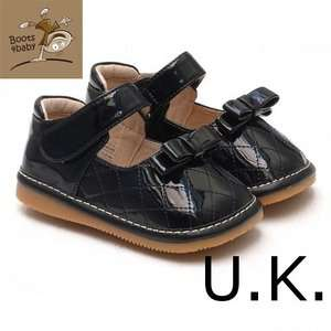 Girls Infant Toddler Squeaky Party Shoes Black/Bow Patent Leather