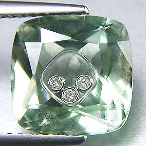 Dancing Natural Diamond & Amethyst Gemstone 14K Gold