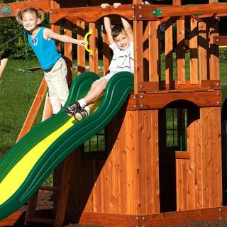 CEDAR SWINGSET CLUB HOUSE w/ SLIDE, SWINGS, MONKEY BARS