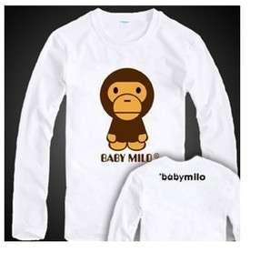 BAPE BABY MILO Fashion White Cotton Tee T Shirt Long Sleeve L Size