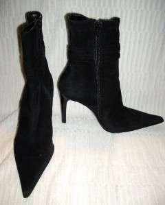 BARBARA BUCCI~ Black Suede High Heel Boots~Rhinestone Buckle~38 M~Made