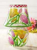 Tulips Clear Glass Candle Lamp w Tea Light NEW 088235094575