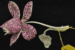 Lady's Pink Sapphire/Diamond Flower Style Brooch 18k WG