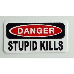 Danger Stupid Kills Hard Hat / Helmet Stickers 1 x 2 Automotive