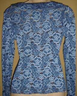 VTG 90s BLUE SHEER LACE Retro RUFFLE Down Victorian TOP Shirt Blouse S