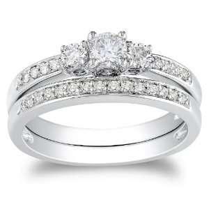 14K White Gold Diamond Bridal Set Ring ( 1 /2 cttw, G H Color, I1 I2