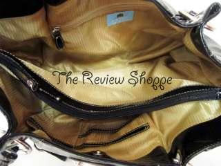 Kathy Van Zeeland Snakey Vinyl Shopper Tote Bag Purse Black w