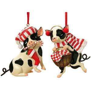 Country Heritage Black & White Pig Christmas Ornaments