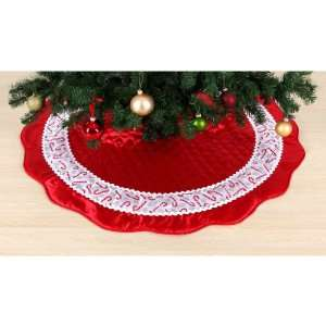 Homespun Holiday 52in Tree Skirt Quilted Red Satin with White Sheer
