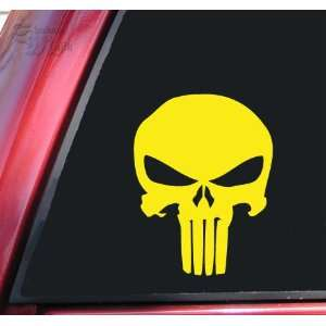 Punisher 2K Skull Vinyl Decal Sticker   Yellow Automotive