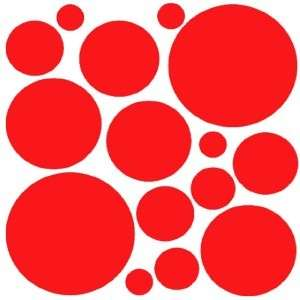 RED Kids Circle Polka Dots Mirror Wall Decal Sticker