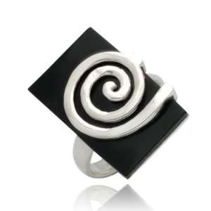 Sterling Silver Onyx Ring   Size 8