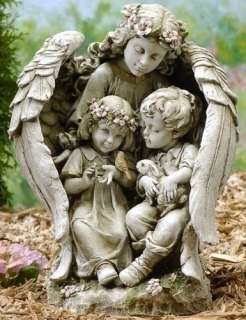 16 GUARDIAN ANGEL WITH CHILDREN Outdoor Garden Statue 089945380200